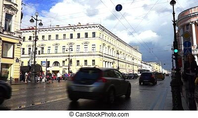 Heavy traffic at Nevsky Avenue, Saint Petersburg - SAINT...