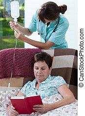 Enfermera, y, drip-bag,