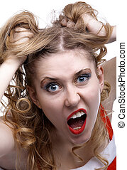 Emotions - Emotional portrait of blonde girl isolated on...