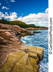Cliffs and the Atlantic Ocean in Acadia National Park, Maine.