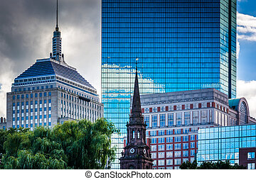 Diverse buildings in Boston, Massachusetts.