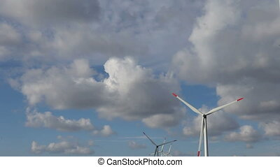 energy wind turbines sky with cloud