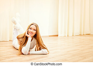 cleanliness - Beautiful smiling young woman enjoying staying...