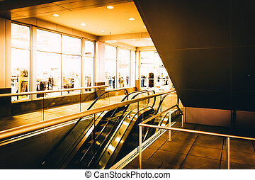 Escalators at the Inner Harbor in Baltimore, Maryland.