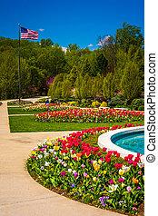 Gardens at the Washington DC Mormon Temple in Kensington,...