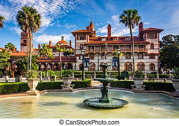 Fountains and Ponce de Leon Hall in St. Augustine, Florida.