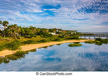 Morning reflections at Salt Run, in St. Augustine Beach,...