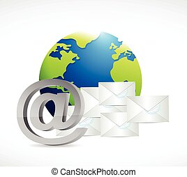 internet globe mail concept illustration