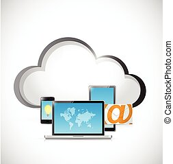 technology electronics and cloud illustration design over a...
