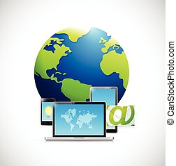 technology electronics and Globe illustration design over a...