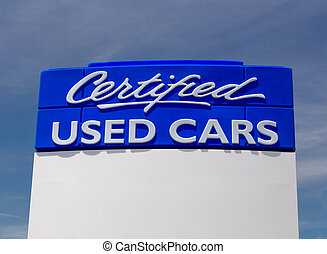 Certified Used Car Sign - Large blue certified used cars...
