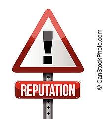 warning reputation street sign illustration design over a...