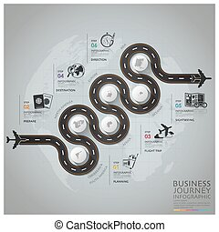 Business Journey With Global Airline Infographic Diagram...