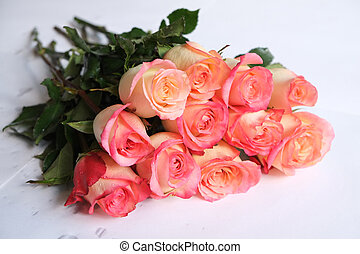 Bouquet of pink roses on white