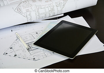 tablet on interior and architectural drawing