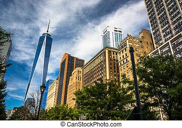 Uno, mundo, comercio, centro, y, otro, edificios, en,...