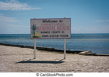 Sign at Higgs Beach, Key West, Florida.