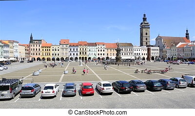 Square in historic center of Czech Budejovice. - Square in...