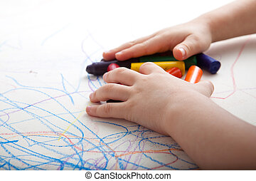 Creative Child Gathering Colors - Child is gathering up...
