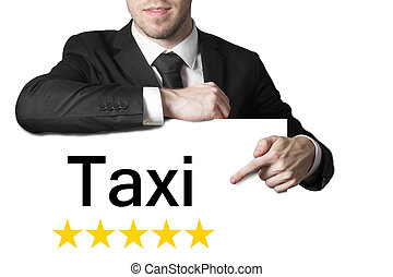 homem negócios, apontar, ligado, sinal, táxi,