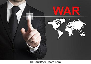homem negócios, Empurrar, botão, guerra,...