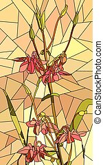 Mosaic of flowers red columbine.