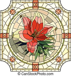 Mosaic of flower red lily. - Vector mosaic with large cells...