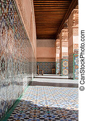 architectural details of Courtyard of Ali Ben Youssef...