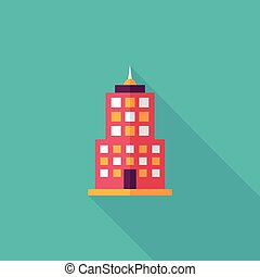 Commercial Building flat icon with long shadow,eps10
