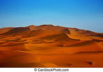 sunset over sand dunes - sunset over Sahara desert (Morocco)