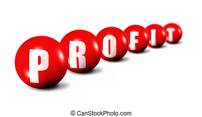 Profit word made of 3D spheres on white background, focus...