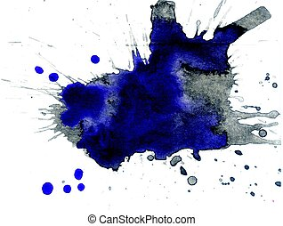 Blue Ink Blot - Abstract blue dried ink splashes or inkblots...