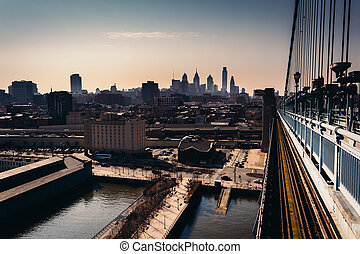 The Delaware River and skyline seen from the Ben Franklin Bridge