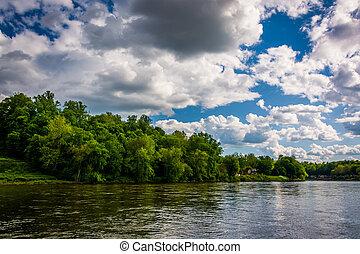 The Delaware River in Easton, Pennsylvania.