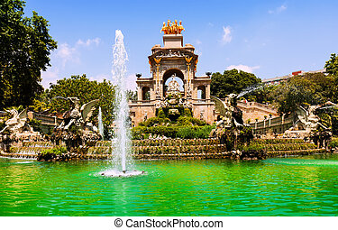 View of Barcelona, Fountain Cascada - View of Barcelona,...