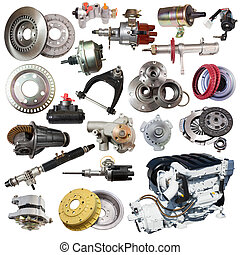 Set of motor and spare parts Isolated on white background