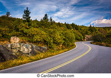 The road to Caddilac Mountain, in Acadia National Park,...