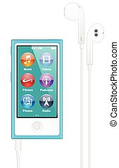 Apple ipod nano with icon on screen vector illustration
