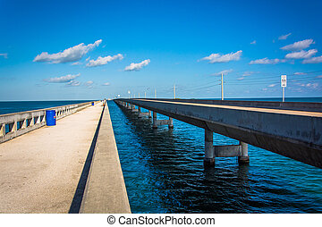 The Seven Mile Bridge, on Overseas Highway in Marathon,...