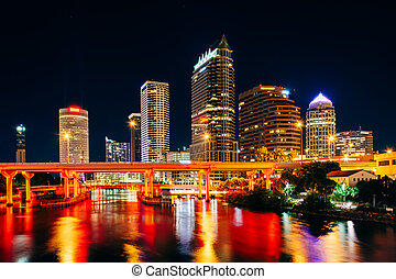 The skyline and bridges over the Hillsborough River at night...