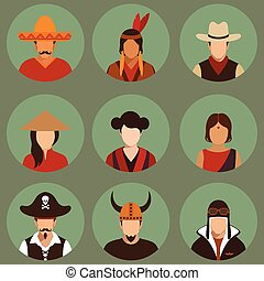 people - vector different characters pirate, pilot, cowboy,...