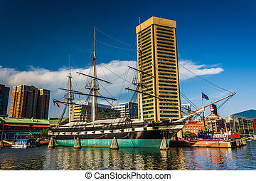 The USS Constellation and buildings at the Inner Harbor in...
