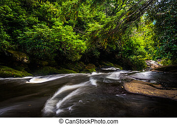 The top of a waterfall on the Cullasaja River, Highlands,...