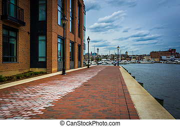 The Waterfront Promenade in Fells Point, Baltimore,   Maryland.