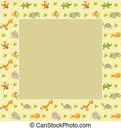 Frame with seamless pattern of funny animals