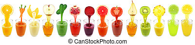 collection juices - fruit and vegetable juices isolated on...