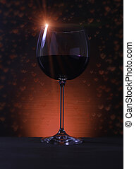 Glass of Red Wine with Lights Background - Close up on Glass...