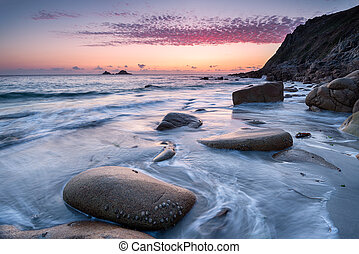 Porth Nanven Beach - Sunset at Porth Nanven Beach in Cot...
