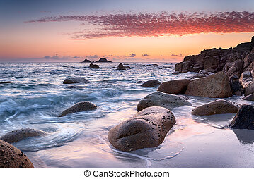 Sunset at Porth Nanven Cove in Cornwall - Beautiful sunset...