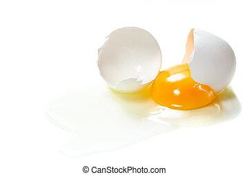 broken egg - A egg into half with yolk and albumin.